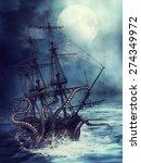Night Scene With A Pirate Ship...