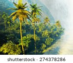 beautiful rainforest with palm... | Shutterstock . vector #274378286
