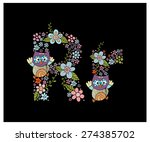 The letter R. Bright floral element of colorful alphabet Owl, flowers, and twigs. floral ABC element in vector
