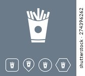 french fries icon on flat ui...