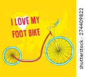 hand drawn pink foot bike with...