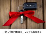 Close Up View Of Car Keys With...