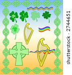 celebrate,celtic,colorful,cross,draw,flag,frame,harp,holiday,illustration,ireland,irish,patrick,rainbow,shamrock