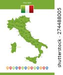 italy map with navigation icons | Shutterstock .eps vector #274488005