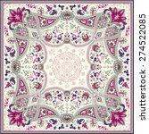 detailed floral scarf design | Shutterstock .eps vector #274522085