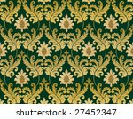 Decorative emerald green renaissance background - stock photo