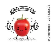 cute tomato lifts heavy weight... | Shutterstock .eps vector #274526678