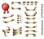 vector  set of gold ribbon and... | Shutterstock .eps vector #274545326