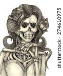 skull art day of the dead.hand...   Shutterstock . vector #274610975