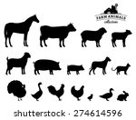 vector farm animals silhouettes ... | Shutterstock .eps vector #274614596