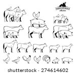 vector farm animals isolated on ... | Shutterstock .eps vector #274614602
