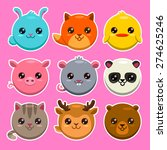 Stock vector set of cute cartoon round animals vector zoo stickers 274625246