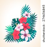 palm leaves and hibiscus... | Shutterstock .eps vector #274656845