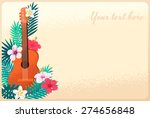 Guitar With Palm Leaves And...