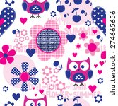 childish pattern with owl and... | Shutterstock .eps vector #274665656