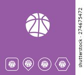 basketball icon on flat ui...