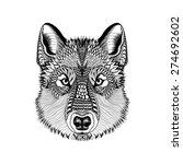 Zentangle Stylized Wolf Face....