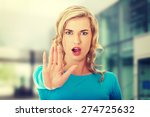 woman expressing stop sign with ... | Shutterstock . vector #274725632