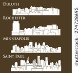Set Of 4 City In Minnesota  ...