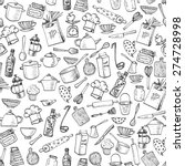 Stock vector seamless texture with of kitchen doodle sketch utensils hand drawn with ink can be used for 274728998