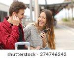 happy couple of travelers... | Shutterstock . vector #274746242