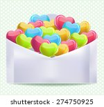 hearts in envelope   Shutterstock .eps vector #274750925