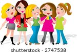 group of five ladies having a... | Shutterstock .eps vector #2747538