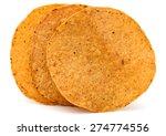 Crispy Tortilla Chips On White...