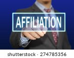 Small photo of Business concept image of a businessman clicking Affiliation button on virtual screen over blue background