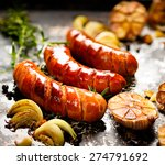 grilled sausage with garlic and ...