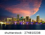 downtown miami skyline at dusk  ... | Shutterstock . vector #274810238