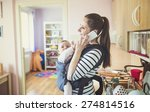 young mother talking on a phone ... | Shutterstock . vector #274814516