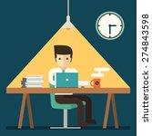 businessman working overtime...   Shutterstock .eps vector #274843598