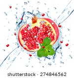 pomegranate and water splash... | Shutterstock . vector #274846562