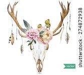 watercolor vector deer head...   Shutterstock .eps vector #274872938