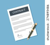 signed contract with pen vector ... | Shutterstock .eps vector #274895486