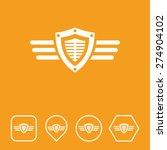 shield   wings icon on flat ui...