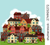 town background design with...   Shutterstock .eps vector #274905272
