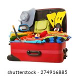 suitcase packed to vacation ... | Shutterstock . vector #274916885