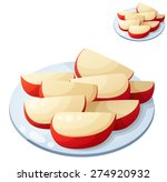 Apple Slices. Detailed Vector...
