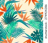 palm leaves and strelitzia... | Shutterstock .eps vector #274924286