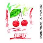two watercolor cherries with... | Shutterstock .eps vector #274926602