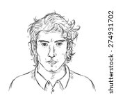 vector single sketch male face. ... | Shutterstock .eps vector #274931702