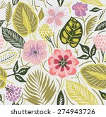 tropical flowers. seamless... | Shutterstock .eps vector #274943726
