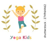 cute yoga kids card with little ... | Shutterstock .eps vector #274964462