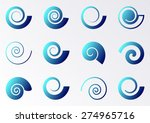 blue gradient spiral icons on... | Shutterstock .eps vector #274965716