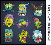 zombies cartoon face on a dark... | Shutterstock .eps vector #274971386