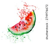 watercolor   watermelon   Shutterstock .eps vector #274976672