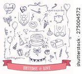 birthday party doodles and love ... | Shutterstock .eps vector #275004572
