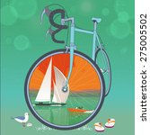 front wheel of bicycle is a... | Shutterstock .eps vector #275005502